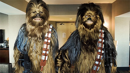A Savage and J Hodgman as Chewbaccas!